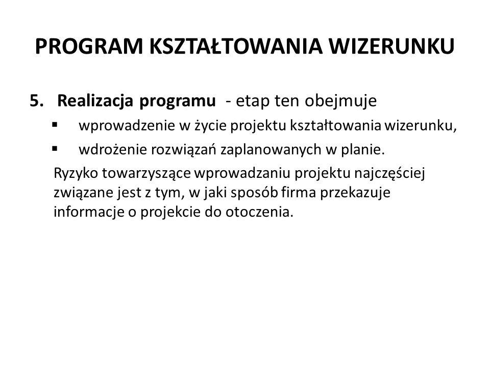 PROGRAM KSZTAŁTOWANIA WIZERUNKU 5.Realizacja programu - etap ten obejmuje wprowadzenie w życie projektu kształtowania wizerunku, wdrożenie rozwiązań z