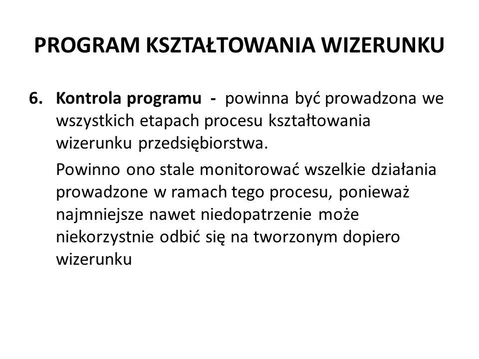 PROGRAM KSZTAŁTOWANIA WIZERUNKU 6.Kontrola programu - powinna być prowadzona we wszystkich etapach procesu kształtowania wizerunku przedsiębiorstwa. P