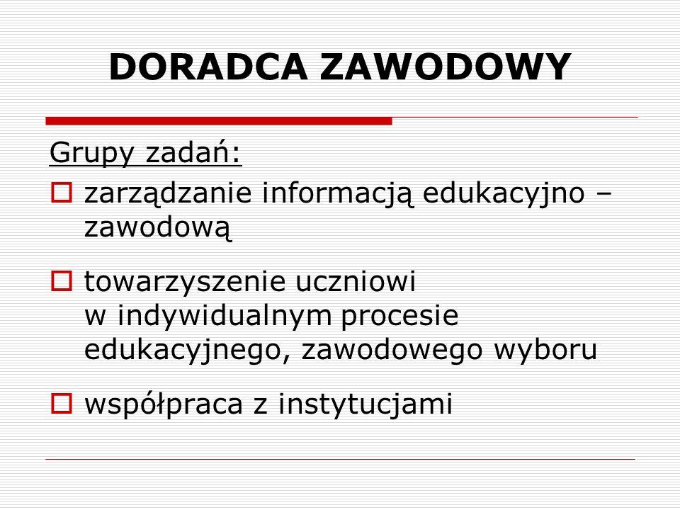 DORADCA ZAWODOWY Grupy zadań: zarządzanie informacją edukacyjno – zawodową towarzyszenie uczniowi w indywidualnym procesie edukacyjnego, zawodowego wy