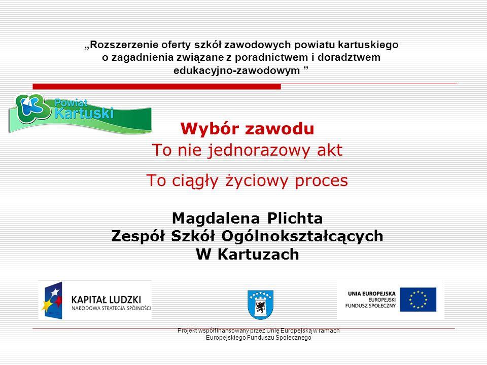 Projekt współfinansowany przez Unię Europejską w ramach Europejskiego Funduszu Społecznego Rozszerzenie oferty szkół zawodowych powiatu kartuskiego o