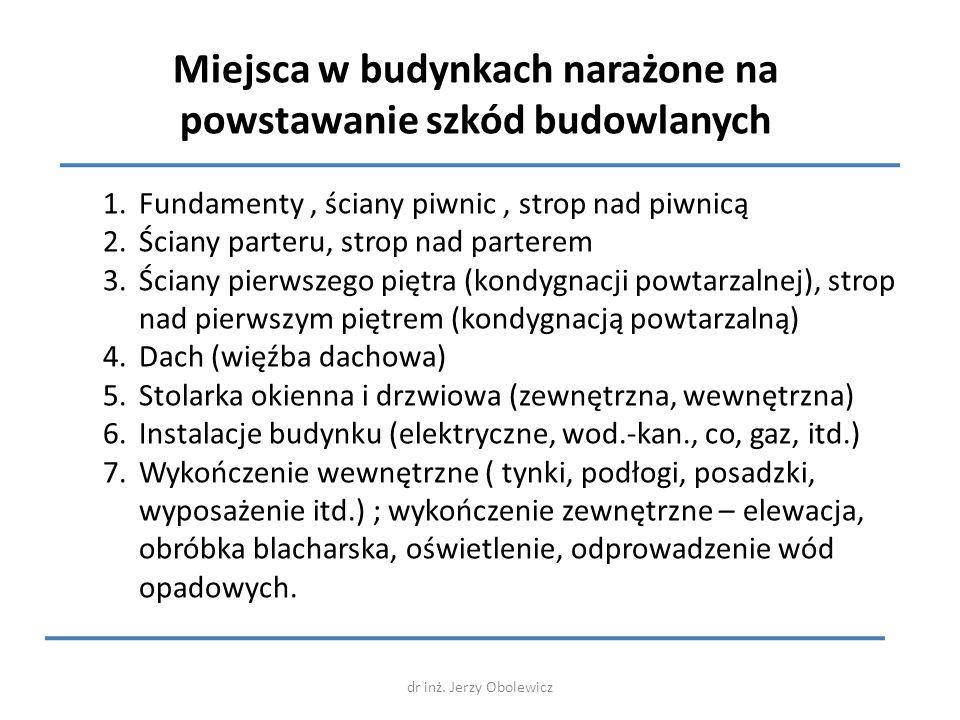 dr inż. Jerzy Obolewicz Miejsca w budynkach narażone na powstawanie szkód budowlanych 1.Fundamenty, ściany piwnic, strop nad piwnicą 2.Ściany parteru,