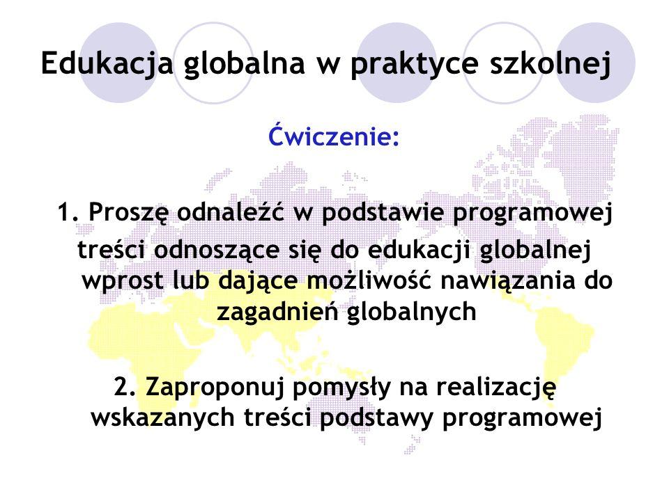 Edukacja globalna w praktyce szkolnej Ćwiczenie: 1. Proszę odnaleźć w podstawie programowej treści odnoszące się do edukacji globalnej wprost lub dają