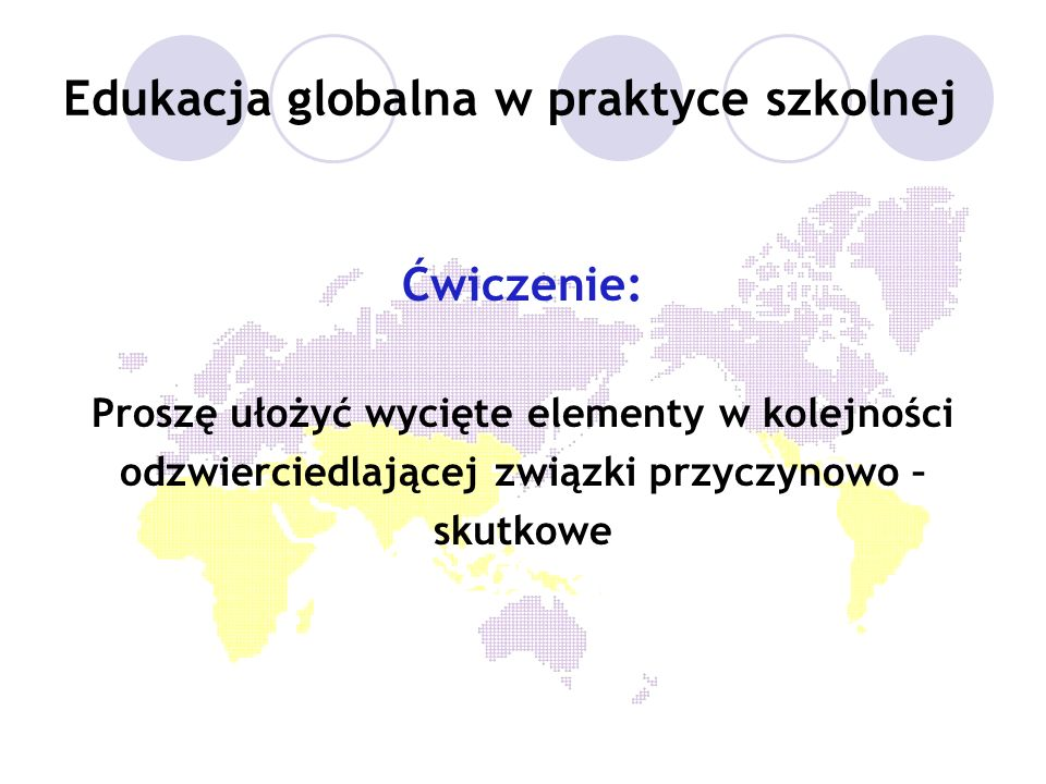 Edukacja globalna w praktyce szkolnej Ćwiczenie: Proszę ułożyć wycięte elementy w kolejności odzwierciedlającej związki przyczynowo – skutkowe
