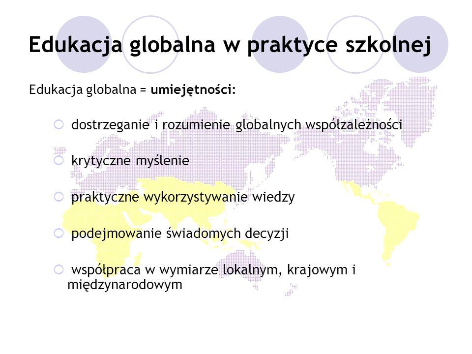 Edukacja globalna w praktyce szkolnej Edukacja globalna = umiejętności: dostrzeganie i rozumienie globalnych współzależności krytyczne myślenie prakty