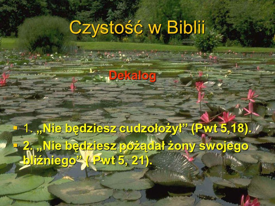 Czystość w Biblii Dekalog Dekalog 1. Nie będziesz cudzołożył (Pwt 5,18). 1. Nie będziesz cudzołożył (Pwt 5,18). 2. Nie będziesz pożądał żony swojego b