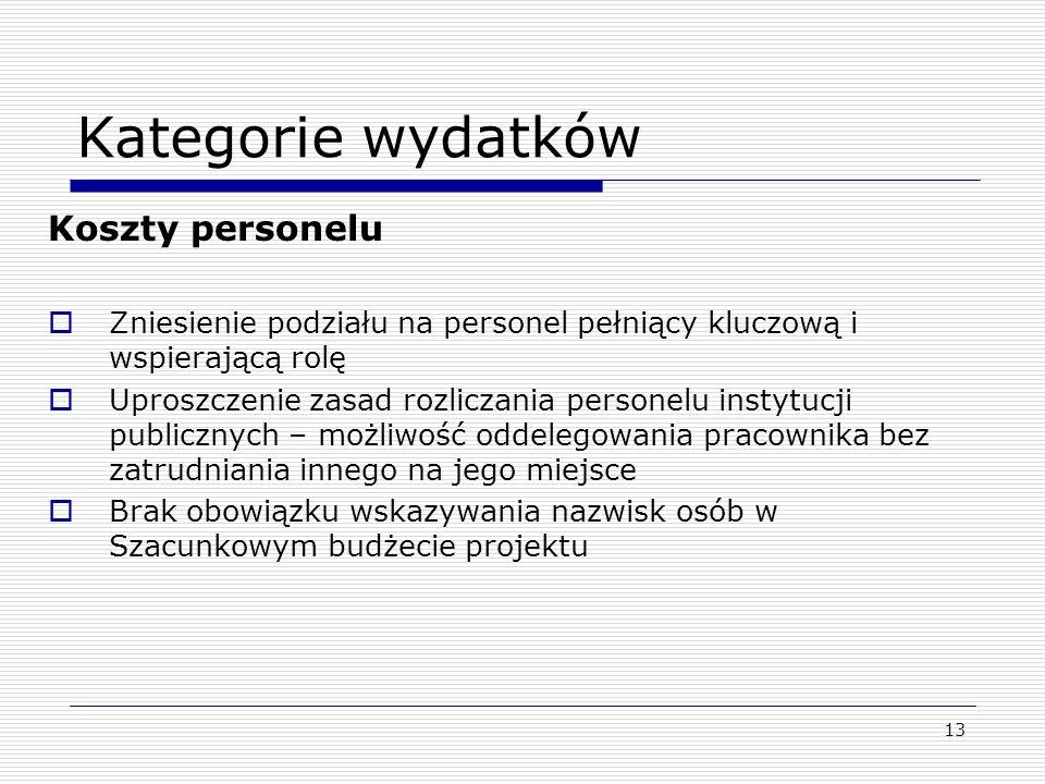 13 Kategorie wydatków Koszty personelu Zniesienie podziału na personel pełniący kluczową i wspierającą rolę Uproszczenie zasad rozliczania personelu i