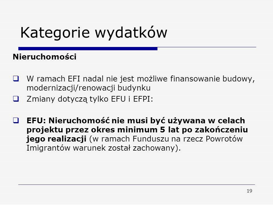 19 Kategorie wydatków Nieruchomości W ramach EFI nadal nie jest możliwe finansowanie budowy, modernizacji/renowacji budynku Zmiany dotyczą tylko EFU i