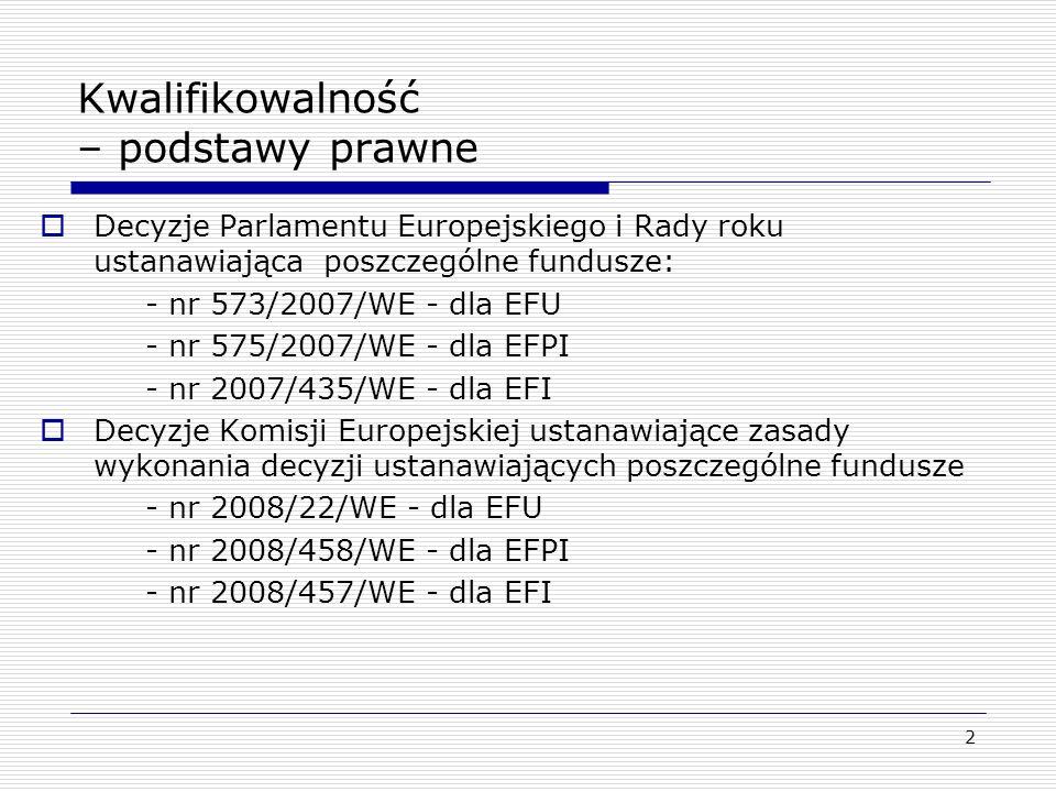 2 Kwalifikowalność – podstawy prawne Decyzje Parlamentu Europejskiego i Rady roku ustanawiająca poszczególne fundusze: - nr 573/2007/WE - dla EFU - nr
