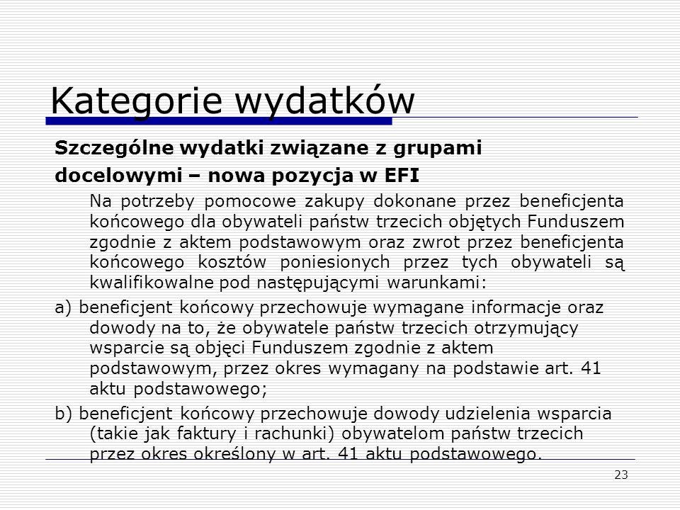 23 Szczególne wydatki związane z grupami docelowymi – nowa pozycja w EFI Na potrzeby pomocowe zakupy dokonane przez beneficjenta końcowego dla obywate