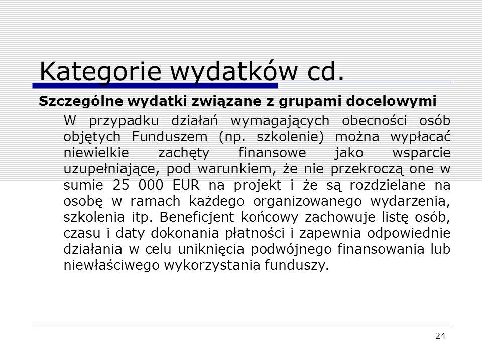 24 Kategorie wydatków cd. Szczególne wydatki związane z grupami docelowymi W przypadku działań wymagających obecności osób objętych Funduszem (np. szk