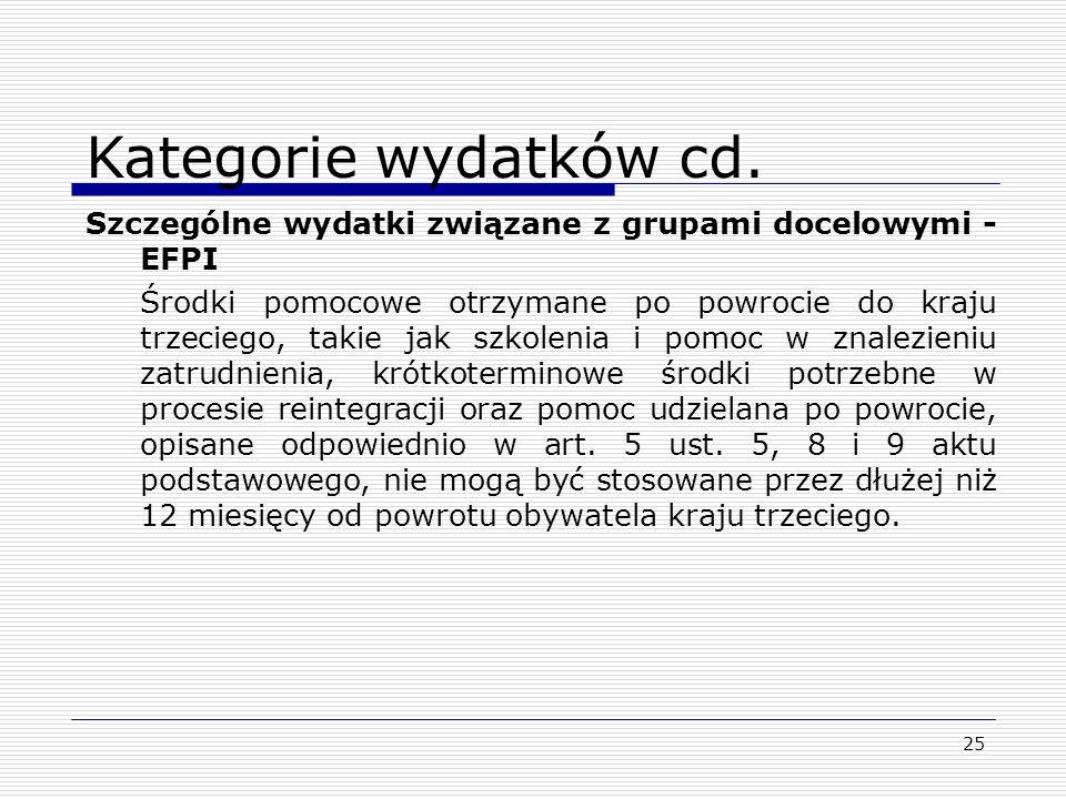 25 Kategorie wydatków cd. Szczególne wydatki związane z grupami docelowymi - EFPI Środki pomocowe otrzymane po powrocie do kraju trzeciego, takie jak