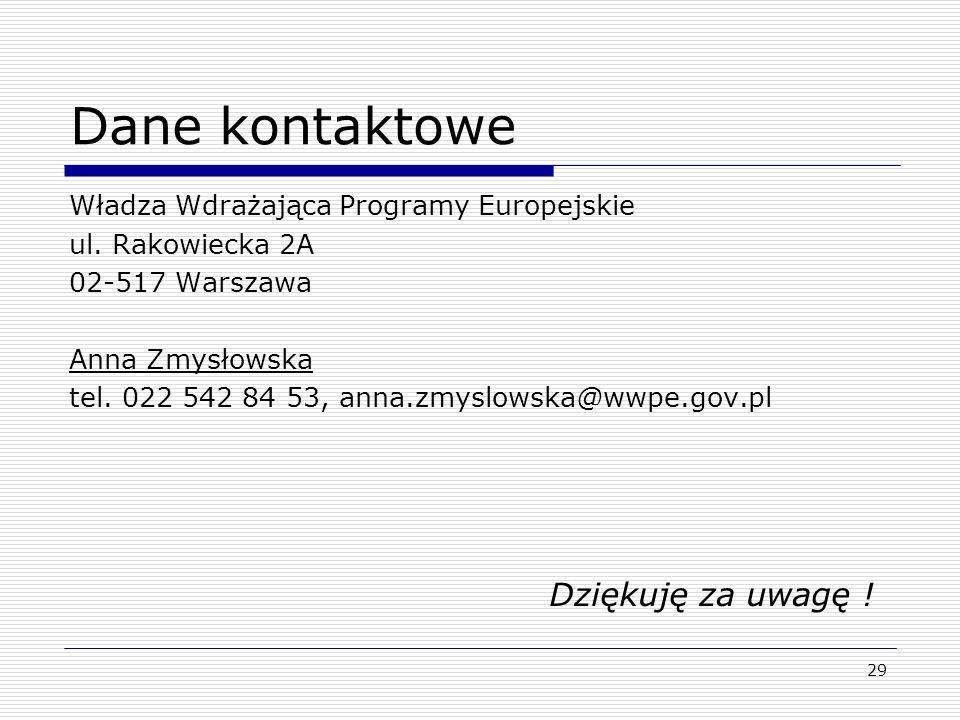 29 Dane kontaktowe Władza Wdrażająca Programy Europejskie ul. Rakowiecka 2A 02-517 Warszawa Anna Zmysłowska tel. 022 542 84 53, anna.zmyslowska@wwpe.g
