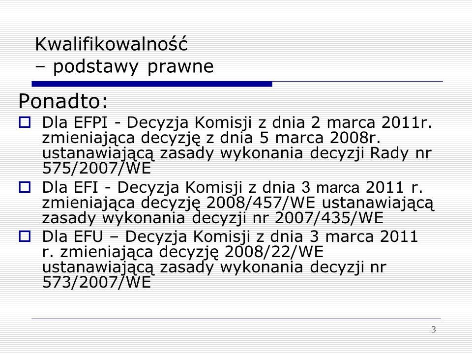 3 Kwalifikowalność – podstawy prawne Ponadto: Dla EFPI - Decyzja Komisji z dnia 2 marca 2011r. zmieniająca decyzję z dnia 5 marca 2008r. ustanawiającą