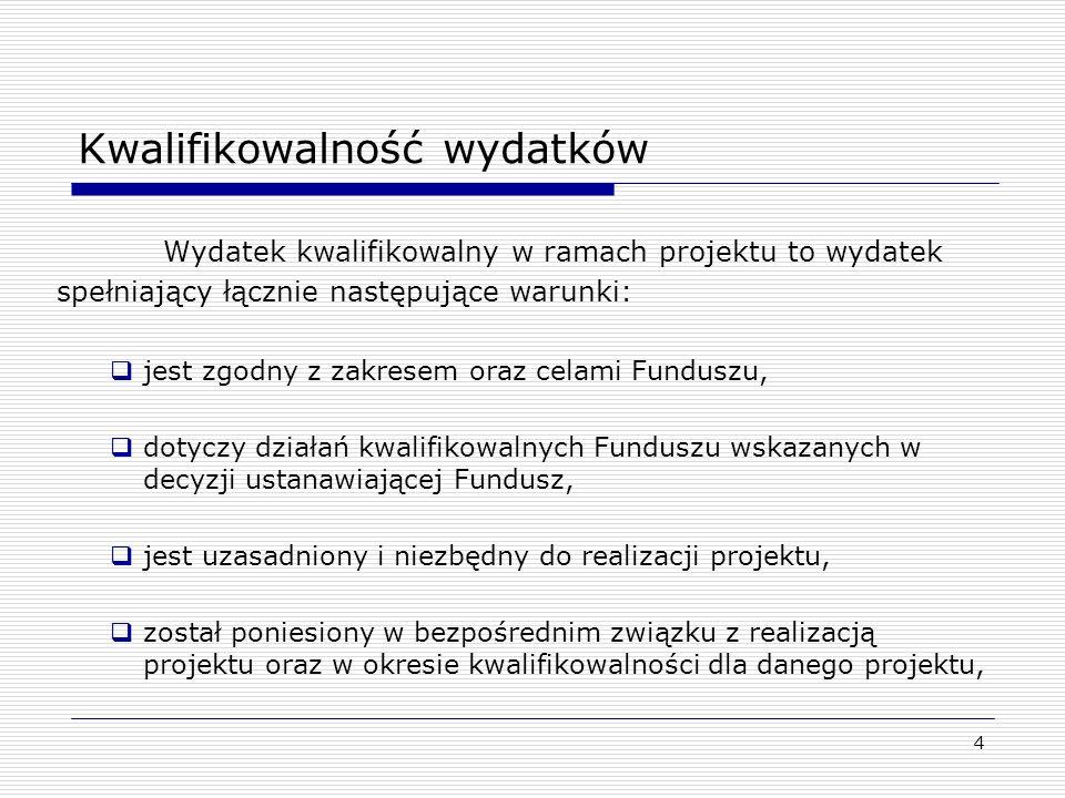 5 Kwalifikowalność wydatków jest zgodny z obowiązującymi przepisami prawa wspólnotowego i krajowego oraz umową, jest zgodny z kategoriami wydatków wynikających z załącznika nr 11 do zmienionych Decyzji nr 2008/456/WE Komisji Europejskiej z dnia 05.03.2008 roku / Decyzji nr 2008/22/WE z dnia 19.12.2007 roku / Decyzji nr 2008/457/WE z dnia 05.03.2008 roku jest zgodny z zasadą należytego zarządzania finansami w szczególności opłacalności oraz efektywności kosztowej, został należycie udokumentowany fakturami VAT lub dokumentami księgowymi o równoważnej mocy dowodowej oraz zarejestrowane w systemie finansowo-księgowym partnera i istnieje możliwość ich identyfikacji i kontroli.