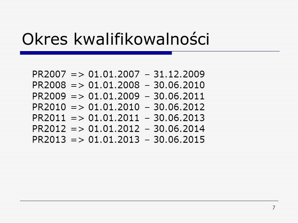 7 Okres kwalifikowalności PR2007 => 01.01.2007 – 31.12.2009 PR2008 => 01.01.2008 – 30.06.2010 PR2009 => 01.01.2009 – 30.06.2011 PR2010 => 01.01.2010 –