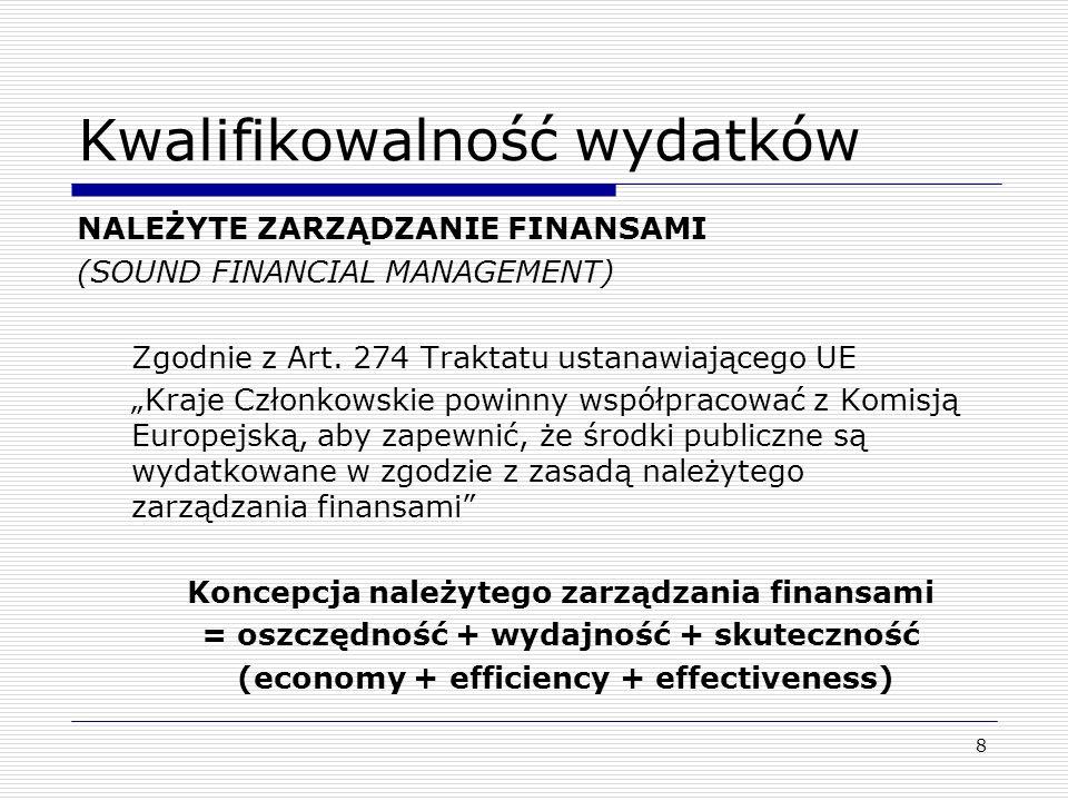 9 Kwalifikowalność wydatków NALEŻYTE ZARZĄDZANIE FINANSAMI = 3 x E Economy = zasoby, które instytucja zużywa do wykonywania swoich zadań udostępniane są w odpowiednim czasie, w odpowiedniej ilości i jakości oraz po najkorzystniejszej cenie Efficiency = instytucja dąży do osiągnięcia jak najlepszego związku pomiędzy zaangażowanymi zasobami a osiągniętymi rezultatami Effectivenes = instytucja osiąga wyznaczone cele oraz zaplanowane rezultaty