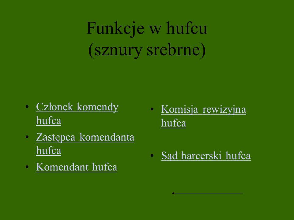 Funkcje w hufcu (sznury srebrne) Członek komendy hufcaCzłonek komendy hufca Zastępca komendanta hufcaZastępca komendanta hufca Komendant hufca Komisja