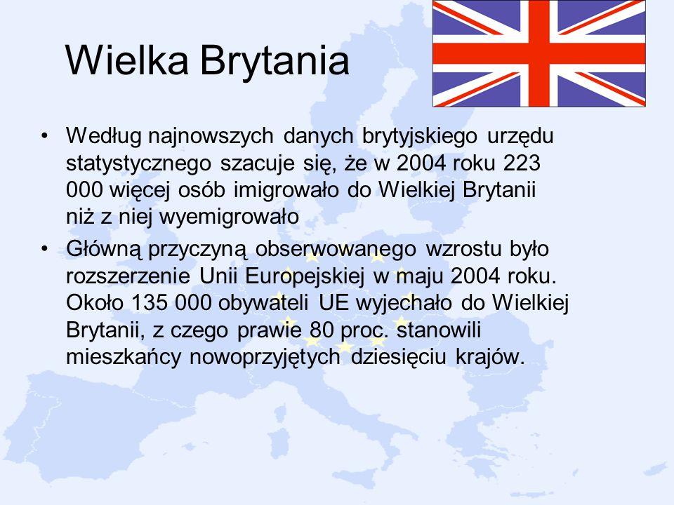 Wielka Brytania Według najnowszych danych brytyjskiego urzędu statystycznego szacuje się, że w 2004 roku 223 000 więcej osób imigrowało do Wielkiej Br