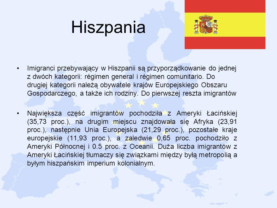 Hiszpania Imigranci przebywający w Hiszpanii są przyporządkowanie do jednej z dwóch kategorii: régimen general i régimen comunitario. Do drugiej kateg
