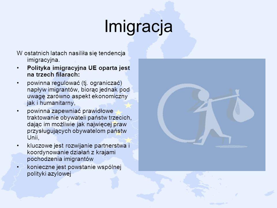 Imigracja W ostatnich latach nasiliła się tendencja imigracyjna. Polityka imigracyjna UE oparta jest na trzech filarach: powinna regulować (tj. ograni
