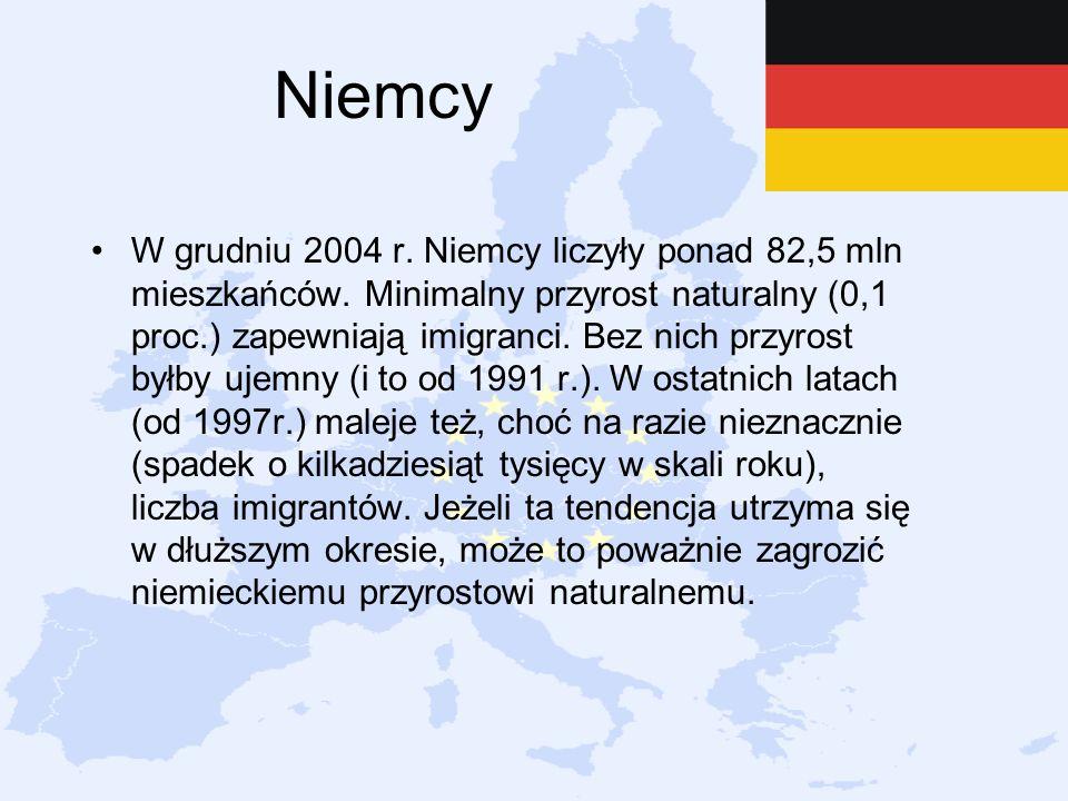 Niemcy W grudniu 2004 r. Niemcy liczyły ponad 82,5 mln mieszkańców. Minimalny przyrost naturalny (0,1 proc.) zapewniają imigranci. Bez nich przyrost b