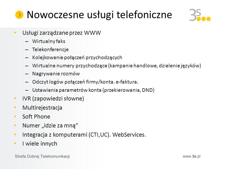Nowoczesne usługi telefoniczne Usługi zarządzane przez WWW – Wirtualny faks – Telekonferencje – Kolejkowanie połączeń przychodzących – Wirtualne numer