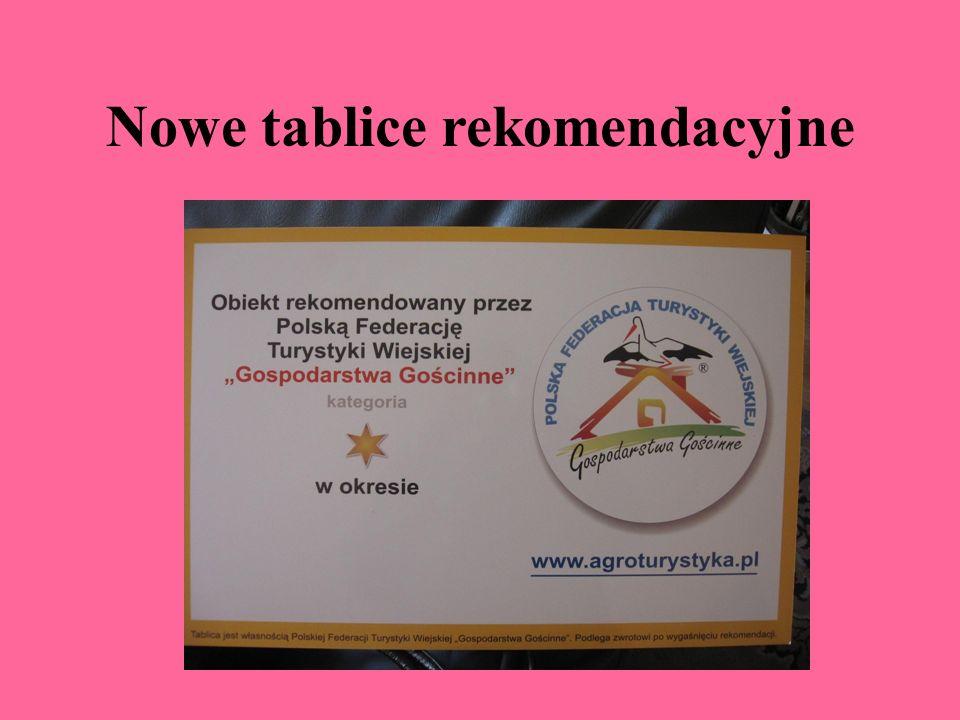 System kategoryzacji Tablica rekomendacyjna Polska Federacja Turystyki Wiejskiej,,Gospodarstwa Gościnne udziela rekomendacji gospodarstwom spełniający