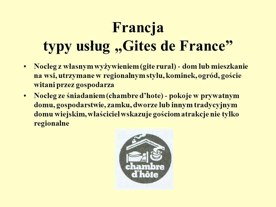 Francja www.gites-de-france.fr Najstarsza organizacja zrzeszająca kwatery wiejskie w Europie - powstała w 1955 roku okręgowe biura znajdują się we wsz
