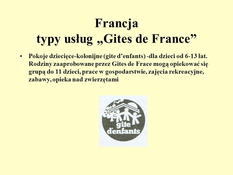 Francja typy usług Gites de France Nocleg z własnym wyżywieniem (gite rural) - dom lub mieszkanie na wsi, utrzymane w regionalnym stylu, kominek, ogró