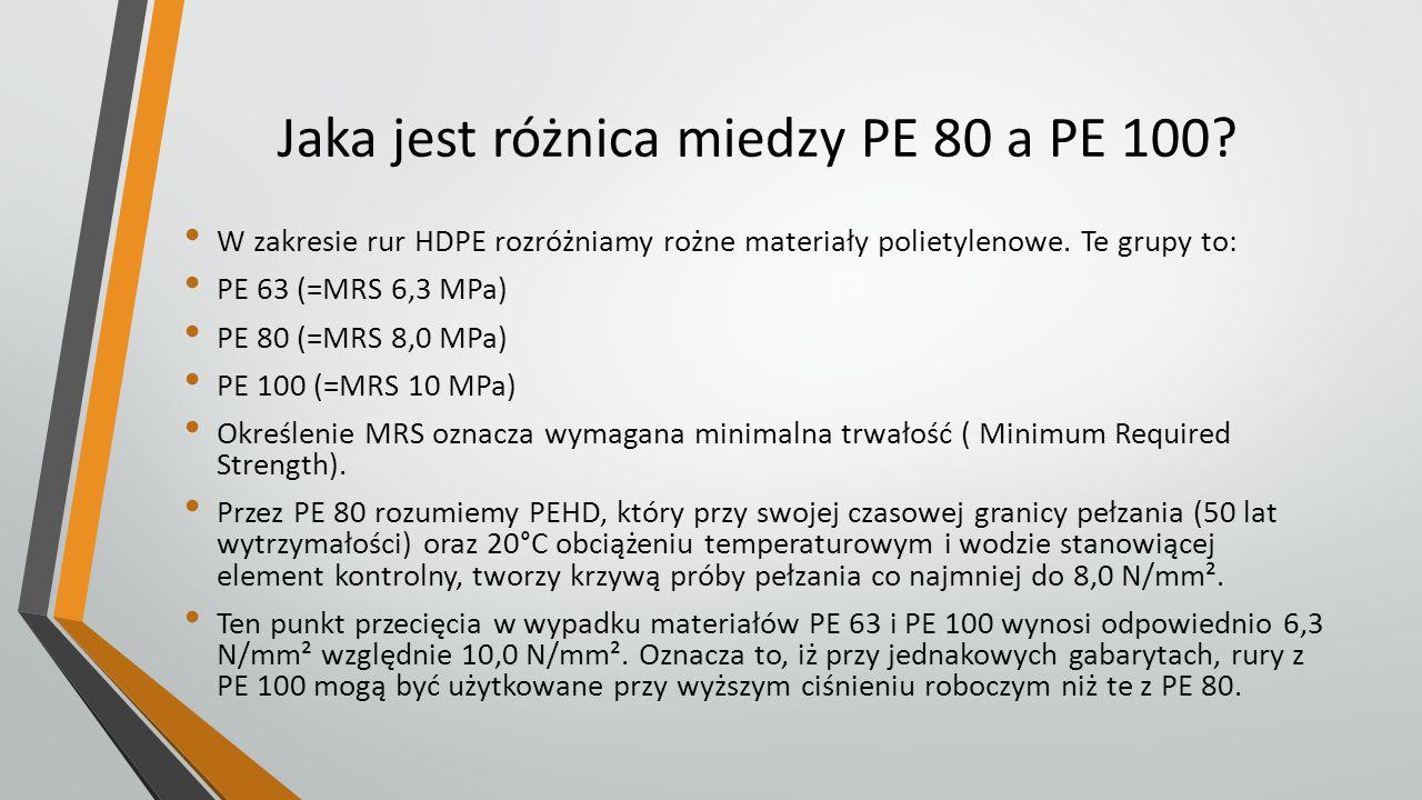 Jaka jest różnica miedzy PE 80 a PE 100? W zakresie rur HDPE rozróżniamy rożne materiały polietylenowe. Te grupy to: PE 63 (=MRS 6,3 MPa) PE 80 (=MRS