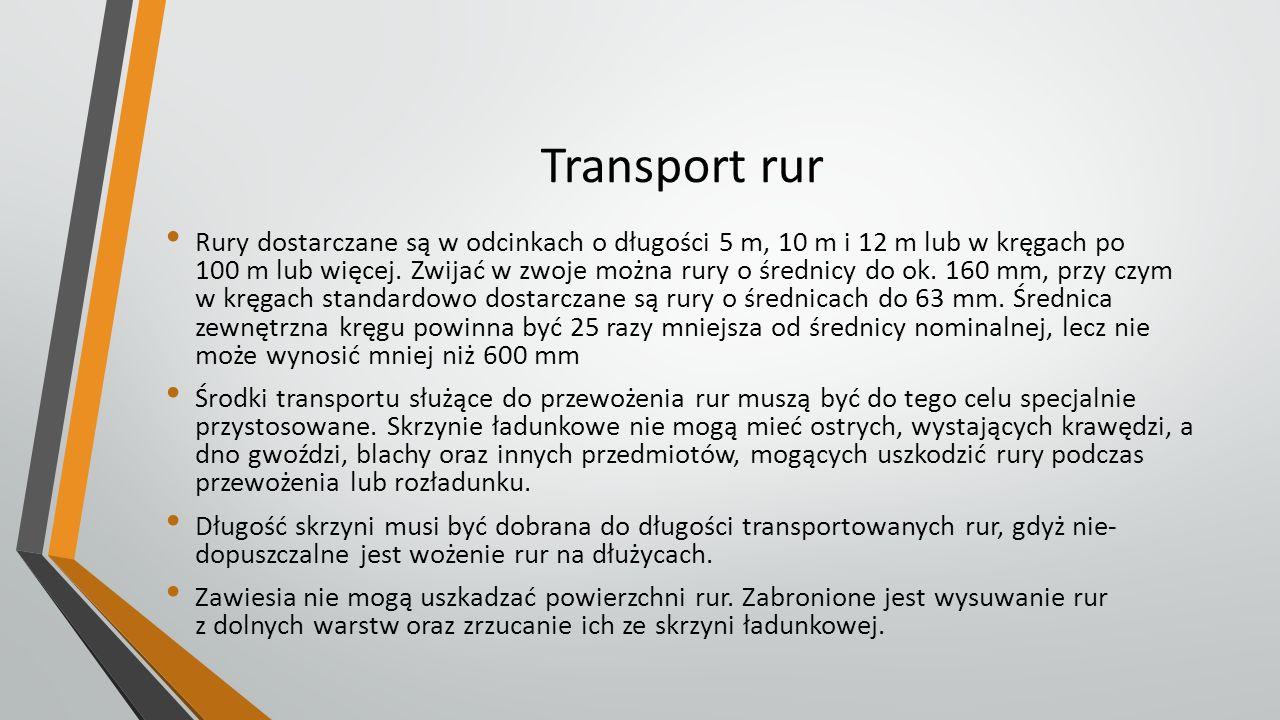 Transport rur Rury dostarczane są w odcinkach o długości 5 m, 10 m i 12 m lub w kręgach po 100 m lub więcej. Zwijać w zwoje można rury o średnicy do o