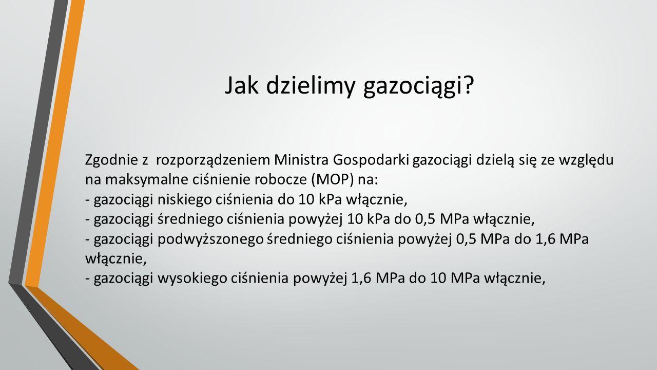 Jak dzielimy gazociągi? Zgodnie z rozporządzeniem Ministra Gospodarki gazociągi dzielą się ze względu na maksymalne ciśnienie robocze (MOP) na: - gazo