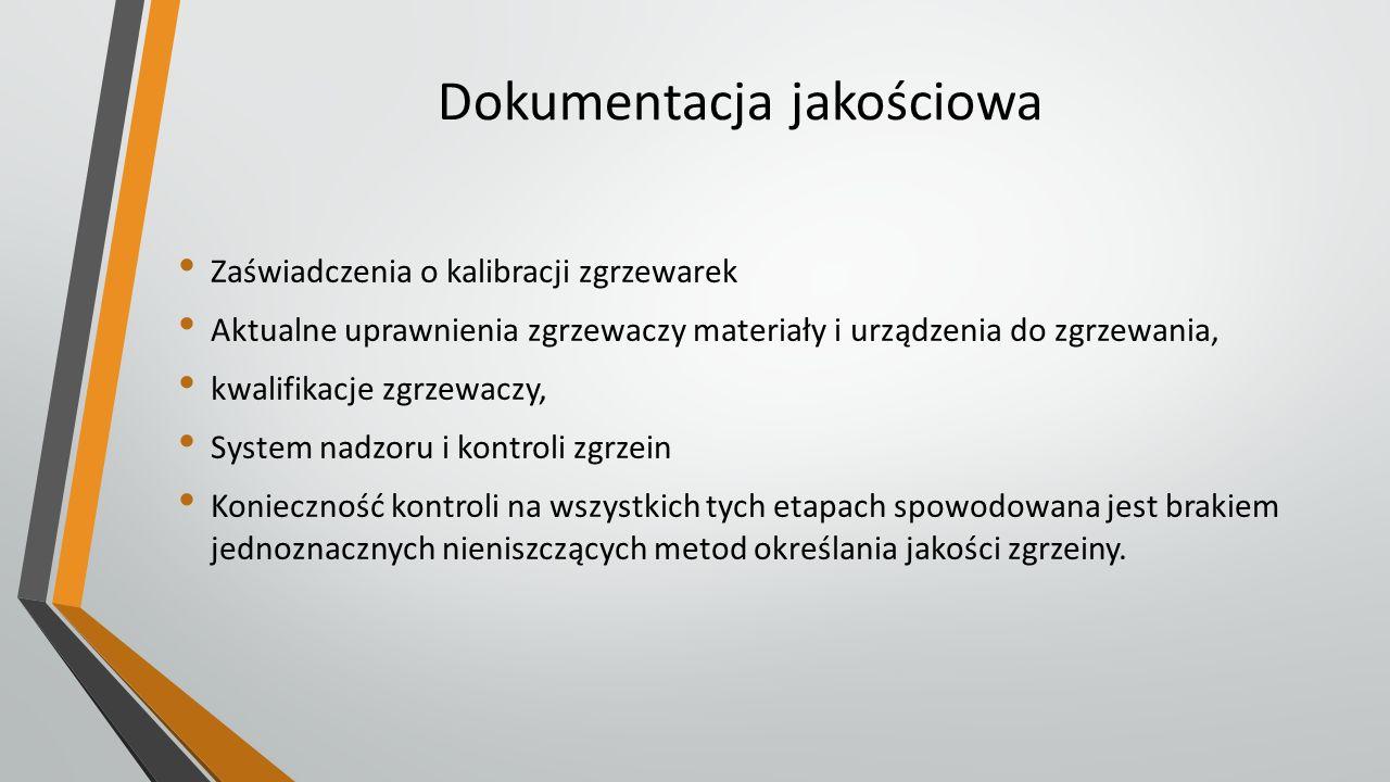Dokumentacja jakościowa Zaświadczenia o kalibracji zgrzewarek Aktualne uprawnienia zgrzewaczy materiały i urządzenia do zgrzewania, kwalifikacje zgrze