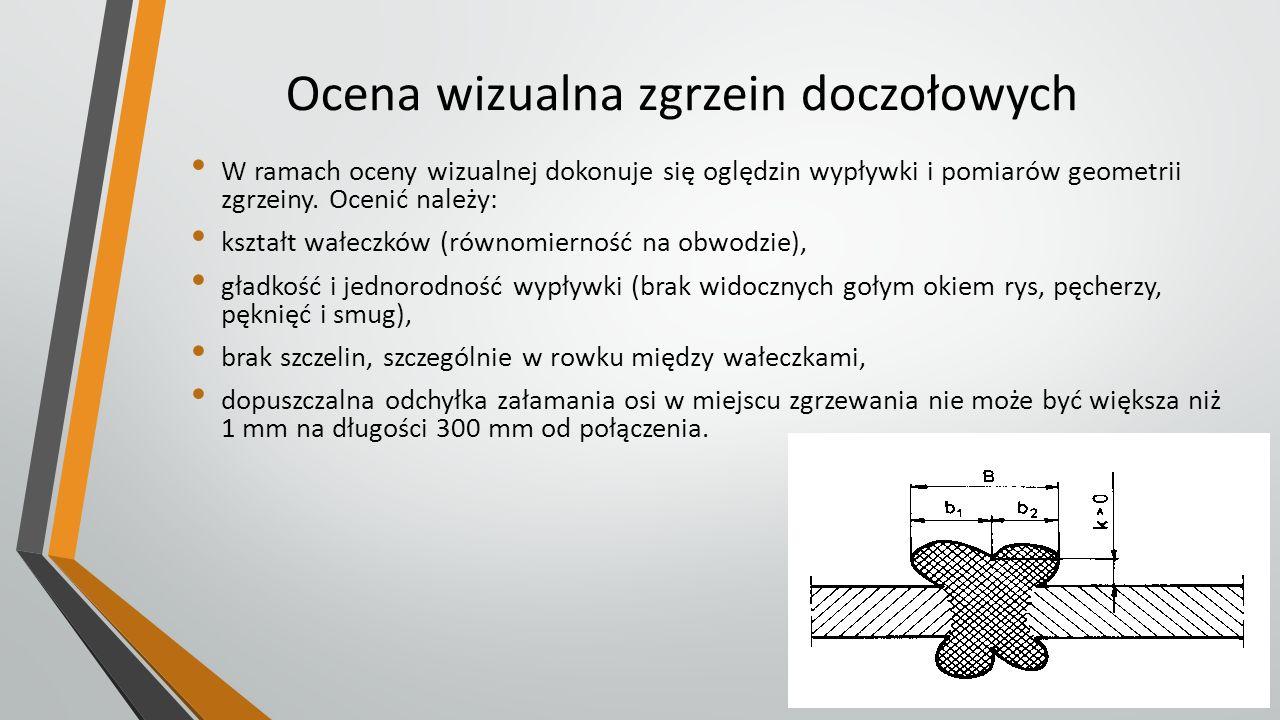 Ocena wizualna zgrzein doczołowych W ramach oceny wizualnej dokonuje się oględzin wypływki i pomiarów geometrii zgrzeiny. Ocenić należy: kształt wałec