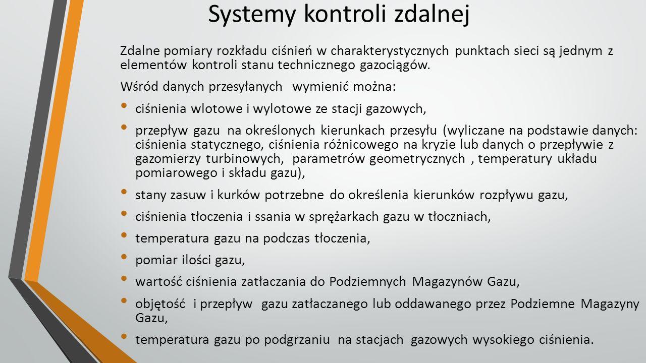 Systemy kontroli zdalnej Zdalne pomiary rozkładu ciśnień w charakterystycznych punktach sieci są jednym z elementów kontroli stanu technicznego gazoci
