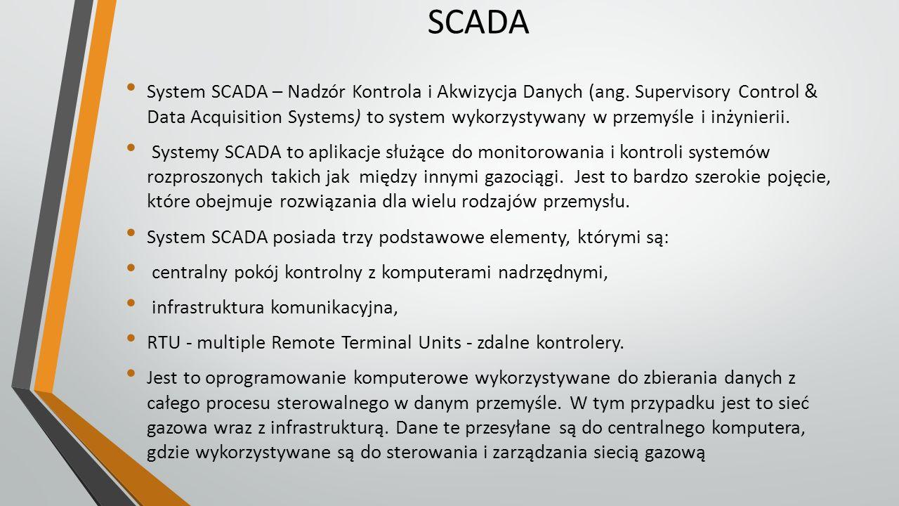 SCADA System SCADA – Nadzór Kontrola i Akwizycja Danych (ang. Supervisory Control & Data Acquisition Systems) to system wykorzystywany w przemyśle i i