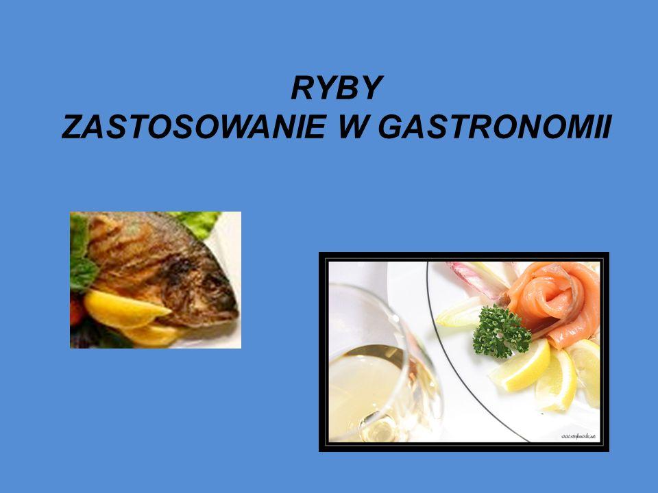 PODZIAŁ RYB KONSUMPCYJNYCH KRYTERIARODZAJEPRZYKŁADY RYB Środowisko życiaSłodkowodne Morskie Karp, sieja, troć, flądra, tuńczyk, śledź Zawartość tłuszczuTłuste średniotłuste chude Łosoś, makrela, węgorz gładzica, karp, pstrąg dorsz, morszczuk, złocica Przydatność gastronomiczna Szlachetne b.
