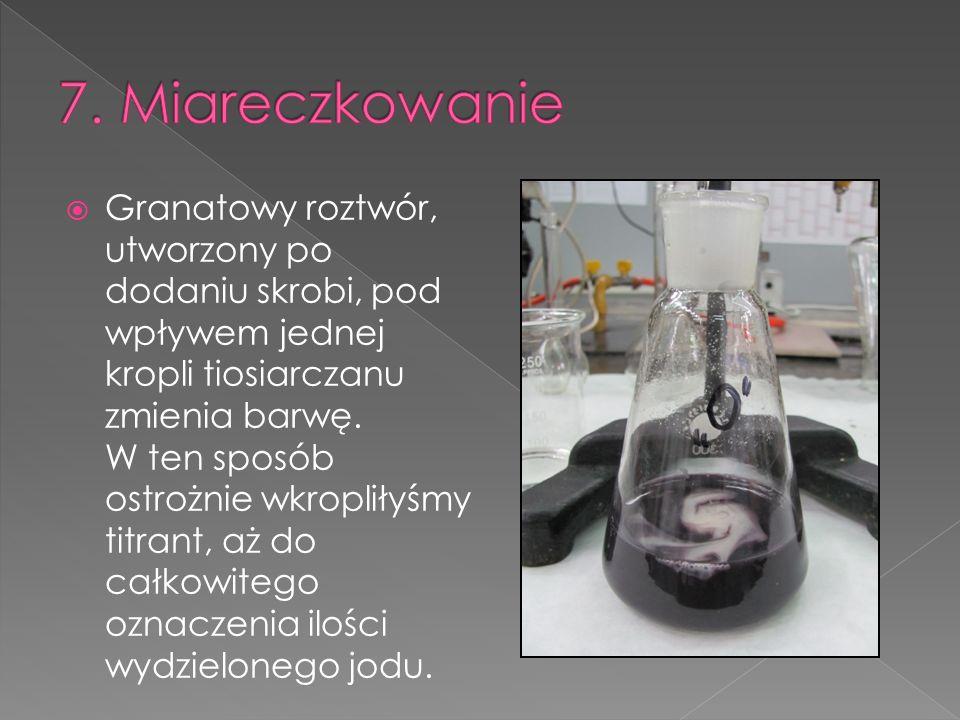 Granatowy roztwór, utworzony po dodaniu skrobi, pod wpływem jednej kropli tiosiarczanu zmienia barwę. W ten sposób ostrożnie wkropliłyśmy titrant, aż