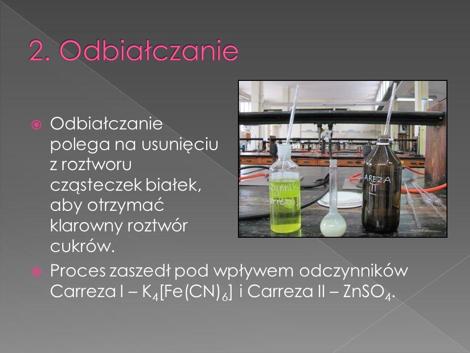 Po zmieszaniu odczynników Carreza I i II z roztworem soku utworzył się nierozpuszczalny kompleks heksacyjanożelazianu (II) cynku – Zn 2 [Fe(CN) 6 ], na powierzchni którego absorbowały się białka.
