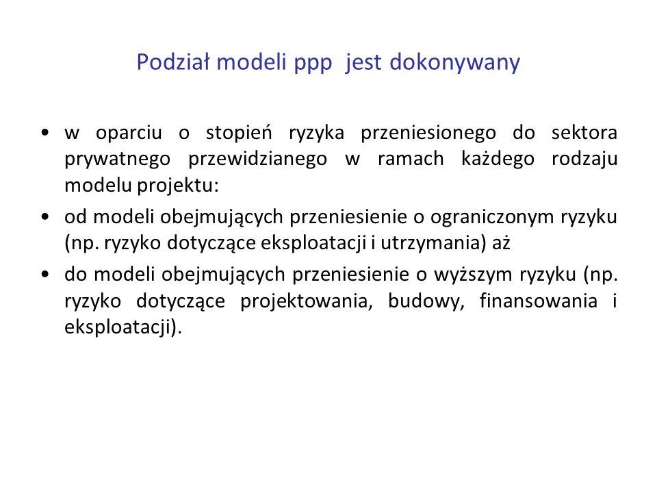 Podział modeli ppp jest dokonywany w oparciu o stopień ryzyka przeniesionego do sektora prywatnego przewidzianego w ramach każdego rodzaju modelu proj