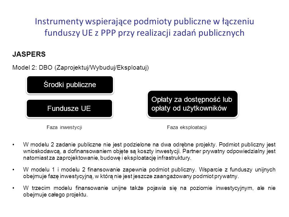 Instrumenty wspierające podmioty publiczne w łączeniu funduszy UE z PPP przy realizacji zadań publicznych JASPERS Model 2: DBO (Zaprojektuj/Wybuduj/Ek