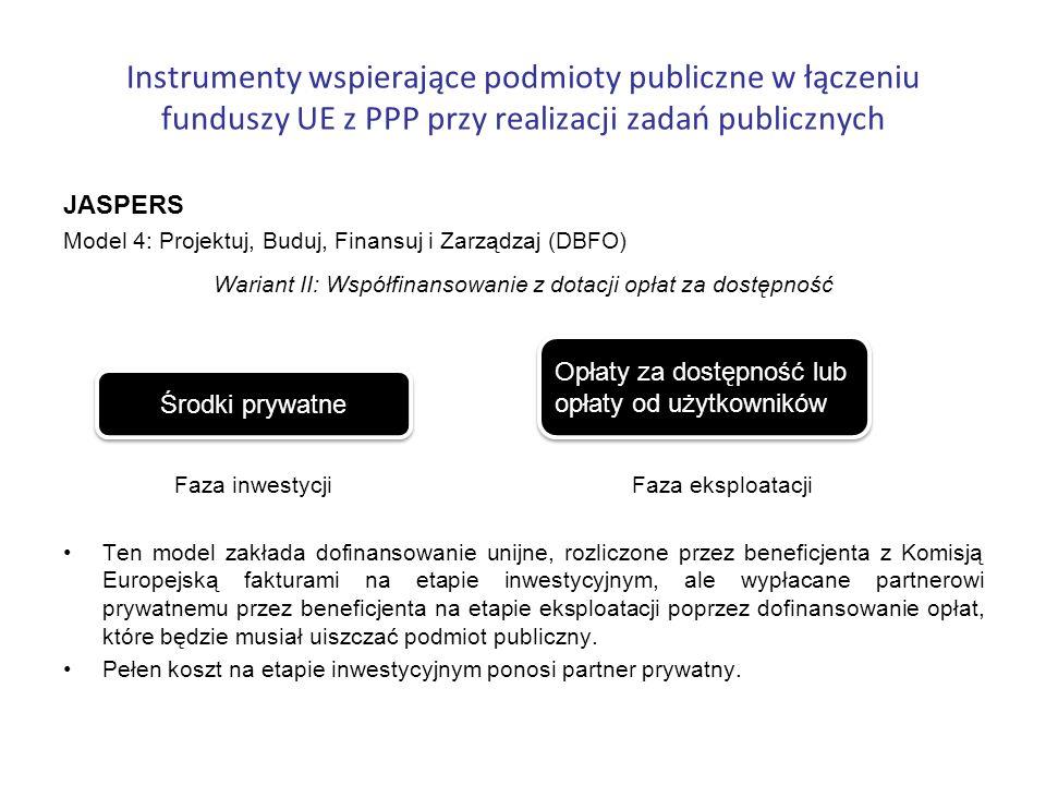 Instrumenty wspierające podmioty publiczne w łączeniu funduszy UE z PPP przy realizacji zadań publicznych JASPERS Model 4: Projektuj, Buduj, Finansuj