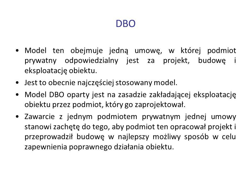 DBO Model ten obejmuje jedną umowę, w której podmiot prywatny odpowiedzialny jest za projekt, budowę i eksploatację obiektu. Jest to obecnie najczęści