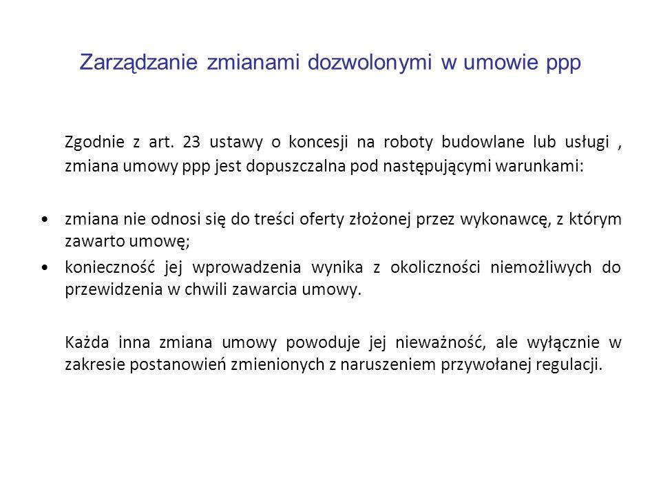 Zarządzanie zmianami dozwolonymi w umowie ppp Zgodnie z art. 23 ustawy o koncesji na roboty budowlane lub usługi, zmiana umowy ppp jest dopuszczalna p