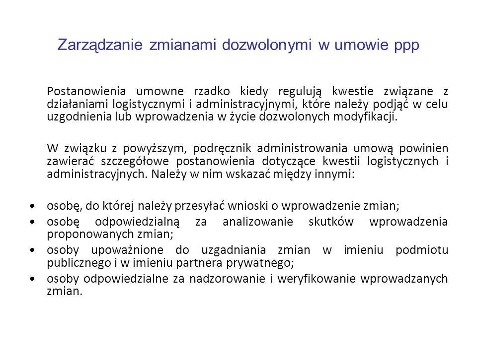 Zarządzanie zmianami dozwolonymi w umowie ppp Postanowienia umowne rzadko kiedy regulują kwestie związane z działaniami logistycznymi i administracyjn