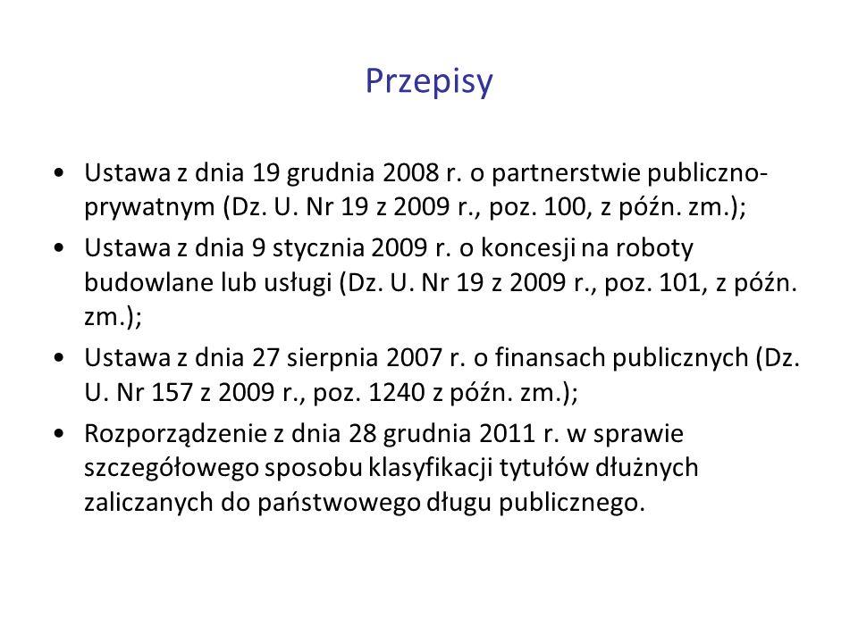 Przepisy Ustawa z dnia 19 grudnia 2008 r. o partnerstwie publiczno- prywatnym (Dz. U. Nr 19 z 2009 r., poz. 100, z późn. zm.); Ustawa z dnia 9 styczni