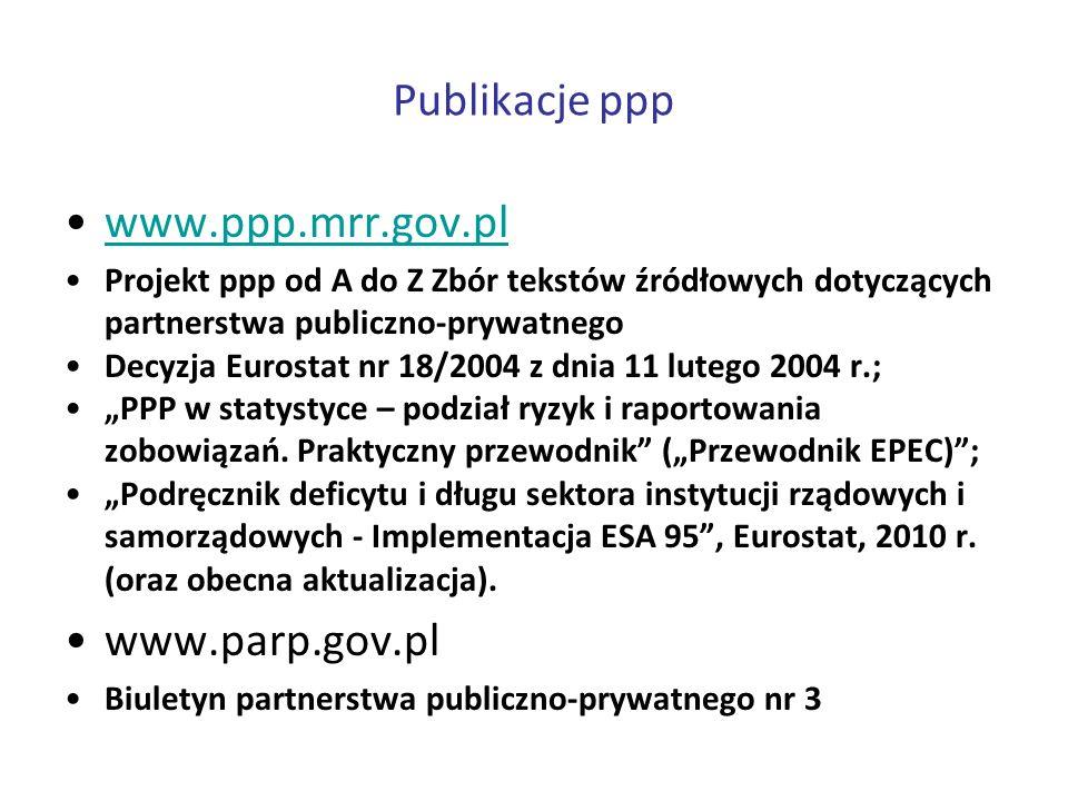 Publikacje ppp www.ppp.mrr.gov.pl Projekt ppp od A do Z Zbór tekstów źródłowych dotyczących partnerstwa publiczno-prywatnego Decyzja Eurostat nr 18/20