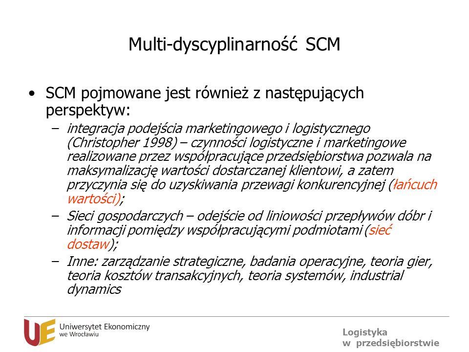 Logistyka w przedsiębiorstwie Multi-dyscyplinarność SCM SCM pojmowane jest również z następujących perspektyw: –integracja podejścia marketingowego i