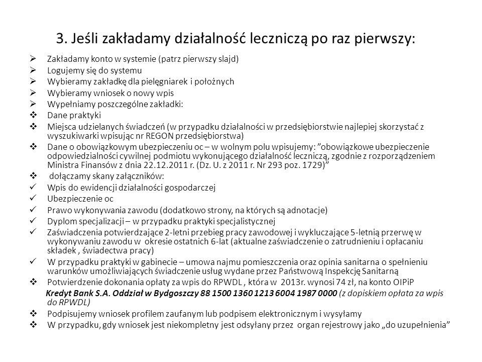 3. Jeśli zakładamy działalność leczniczą po raz pierwszy: Zakładamy konto w systemie (patrz pierwszy slajd) Logujemy się do systemu Wybieramy zakładkę