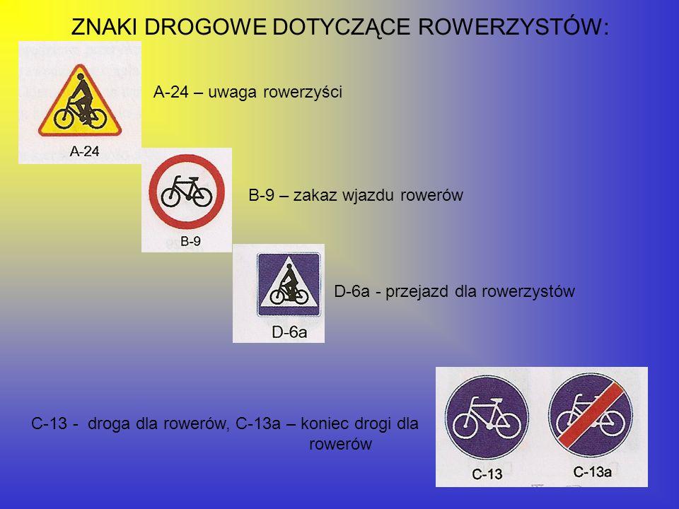ZNAKI DROGOWE DOTYCZĄCE ROWERZYSTÓW: A-24 – uwaga rowerzyści B-9 – zakaz wjazdu rowerów C-13 - droga dla rowerów, C-13a – koniec drogi dla rowerów D-6